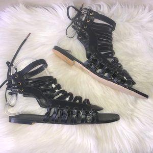 Leila stone saskia black gladiator ankle sandals
